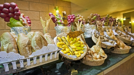 selections: Bread selections on display at a hotel buffet Stock Photo