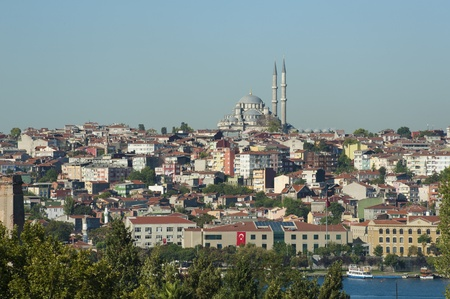 fatih: Cityscape of a residential area of a large city with a river
