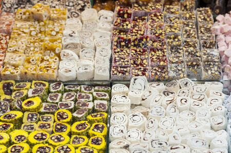 confectionary: Selection of confectionary on display at an indoor market stall
