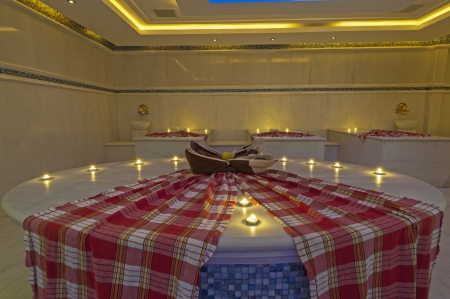 Turkish baths in a large health spa at luxury hotel photo