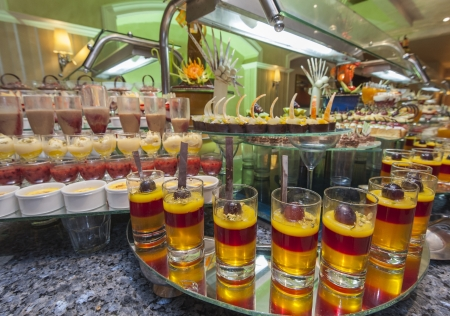 Large selection of desserts at a buffet in luxury hotel Stock Photo - 15919798
