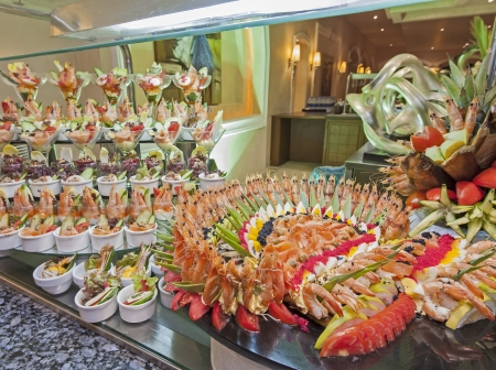 Large seafood display at a restaurant buffet in luxury hotel