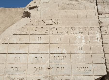 Sculptures hiéroglyphiques égyptiens antiques sur un mur du temple de Karnak à Louxor Banque d'images - 17598047