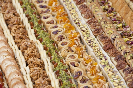 petit: Selection of luxury oriental petit fours in rows