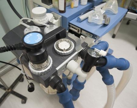 medical ventilator: Closeup detail of a hospital ventilator machine in an operating room