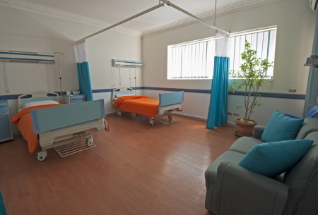 Hospital beds in a private hospital ward ward with plant and sofa