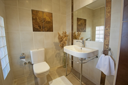 show home: Bathroom in a luxury apartment show home showing interior design