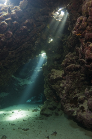 Sunlight streaming through an underwater cave in tropical coral reef