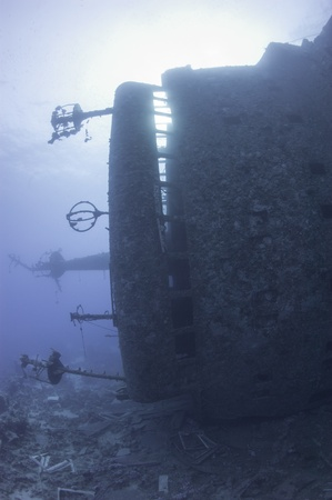 superstructure: Bridge of a large underwater shipwreck in the sun