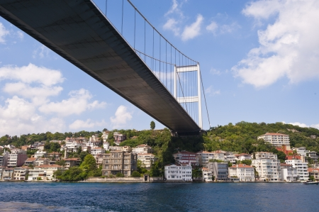 Large suspension road bridge over a river against a blue sky background with residences underneath Stock Photo - 22035380