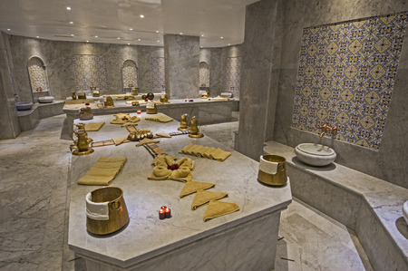 Interior of large turkish bath hammam in luxury health spa