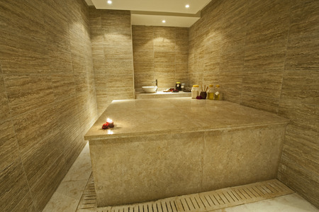 Private turkish massage room in a luxury health spa