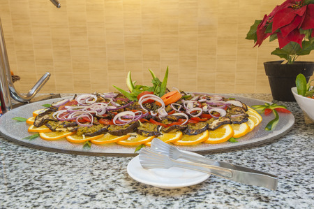 Aubergine salad display at a luxury hotel restaurant buffet photo