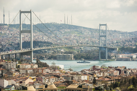 bosporus: View of famous Bosphorus suspension bridge over river in Istanbul Turkey