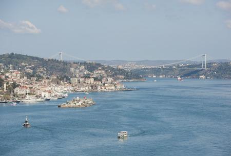 fatih: Aerial view down the Bosphorus River in Istanbul Turkey towards the Fatih Sultan Mehmet Bridge