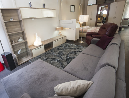 show home: Sofa and TV wall cabinet in living room furniture show home