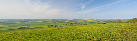 View over fields in the english countryside rural scene photo