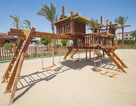 jungle gym: Childrens climbing frame jungle gym outside in tropical park area Stock Photo