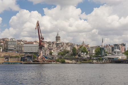 drydock: Old abandoned derelict dockyards by large river in Istanbul city