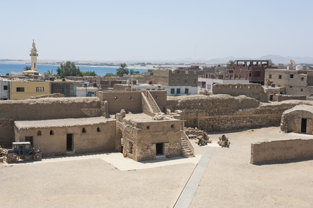 Ancient ottoman fort in traditional old egyptian town of El Quseir on Red Sea coast Banco de Imagens