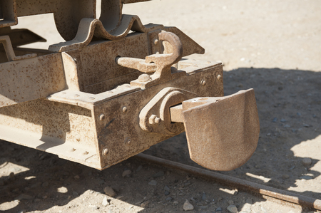 Closeup detail of coupling mechanism on old vintage railway carriage photo