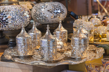 tea set: Ornate silver Turkish tea set at a bazaar market stall