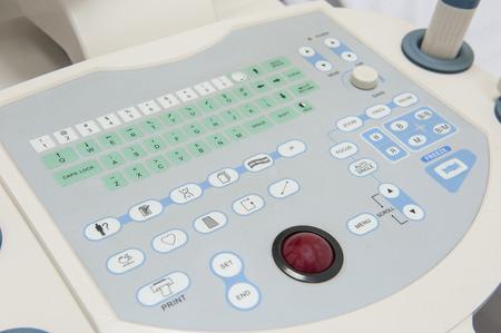 medical scanner: Closeup detail of an ultrasound scanner machine control keypad in medical center hospital