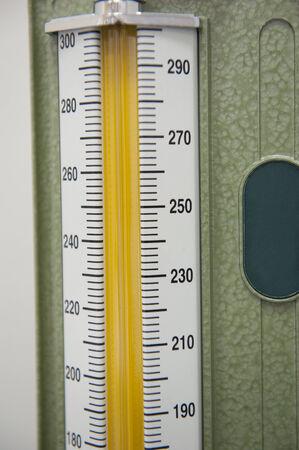 blood pressure gauge: Closeup detail of scale on blood pressure gauge in medical center hospital
