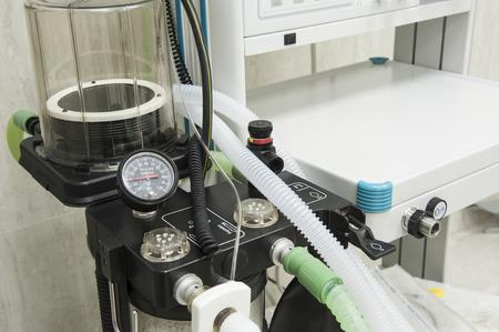 medical ventilator: Closeup detail of a medical center hospital ventilator machine in an emergency operating room Stock Photo