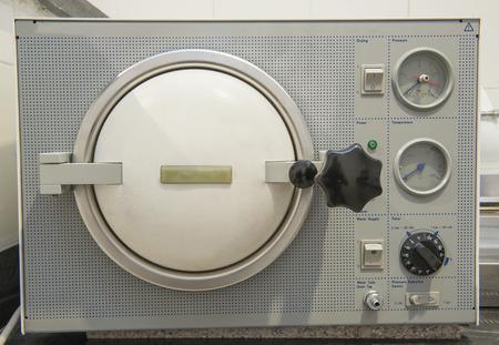 sterilization: Closeup detail of an autoclave sterilization machine in a hospital clinic Stock Photo