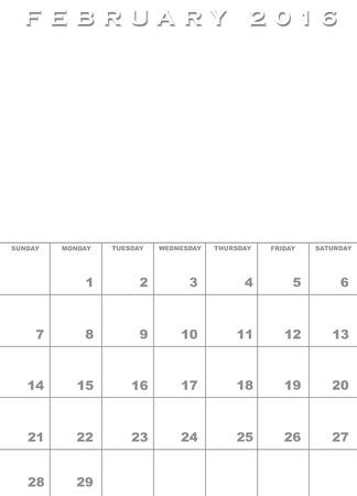 Monat Februar 2017 Kalendervorlage Hintergrund Mit Platz Für Bilder ...