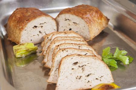 meatloaf: Leberkase meatloaf german speciality on display at a hotel restaurant buffet