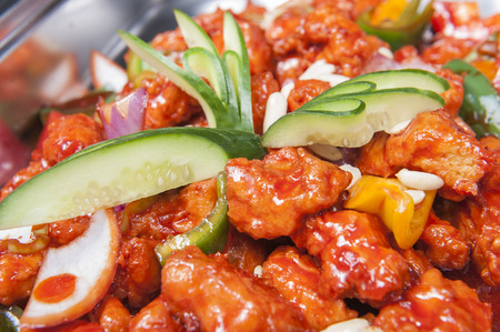 buffet: Closeup of Kung Pao Chicken chinese meal on display at a hotel buffet Stock Photo