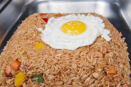 nasi: Closeup of Indonesian Nasi Goreng meal on display at a chinese restaurant buffet Stock Photo