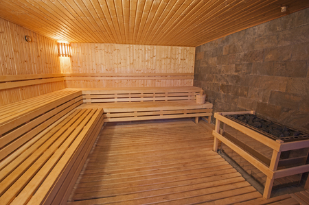 beauty center: Interior detail of a sauna in luxury health spa beauty center