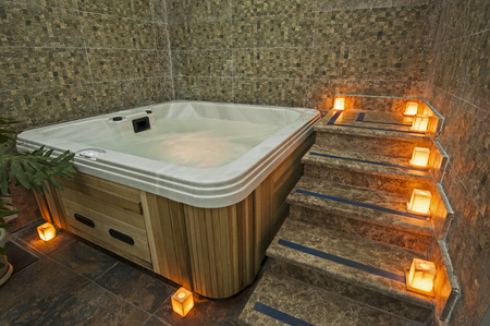 Closeup of a jacuzzi in private room of luxury health spa