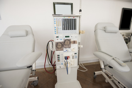 Closeup of dialysis machine and bed in a medical center 版權商用圖片
