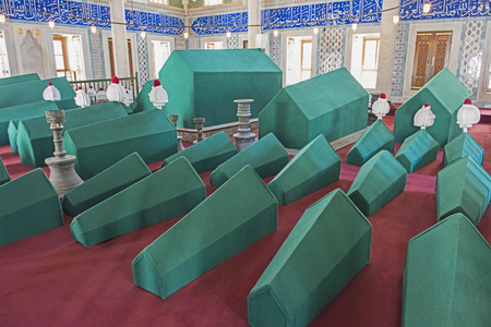coffins: Rows of coffins in an old famous ottoman turkish mausoleum tomb