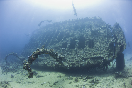 stern: Stern section of an old historical large underwater shipwreck