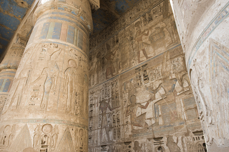 hieroglyphic: Columns in the ancient egyptian temple of Medinat Habu at Luxor with hieroglyphic carvings