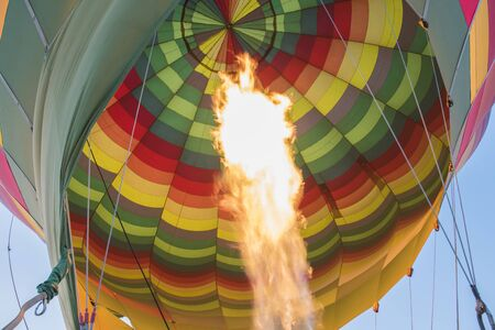 gas burner: Gas burner filling a hot air balloon