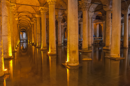 cistern: Old Roman stone columns underground in the historical Basilica Cistern at Istanbul Turkey