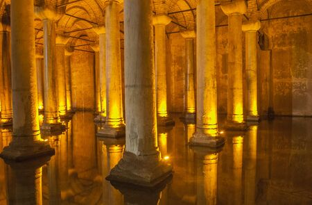 cisterna: Old Roman stone columns underground in the historical Basilica Cistern at Istanbul Turkey