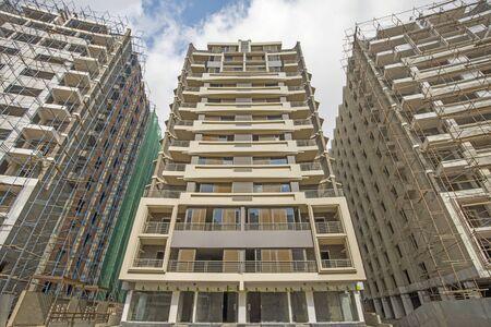 apartment block: Exterior of a large modern high rise apartment block building Stock Photo