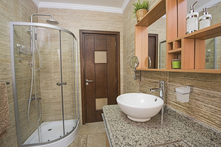 shower cubicle: Interior design of a luxury show home bathroom with shower cubicle