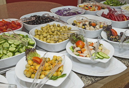 Selection display of salads at a luxury restaurant buffet bar area Stock Photo