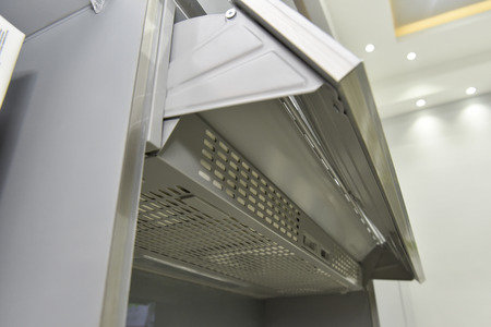 extractor hood: Closeup detail of an exhaust fan cooker hood extractor