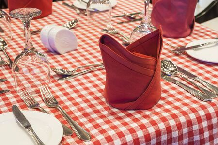 silver cutlery: Closeup detail of a table setting on red checked table cloth with silver cutlery