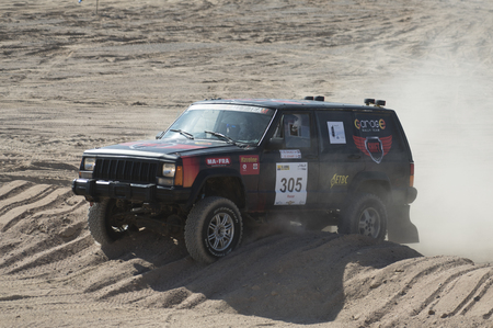 off road racing: EL GOUNA, EGYPT - APRIL 15TH 2016:  El Gouna Rally Cup desert rally on April 15th 2016 in El Gouna, Egypt. The opening day special time trial stage in El Gouna