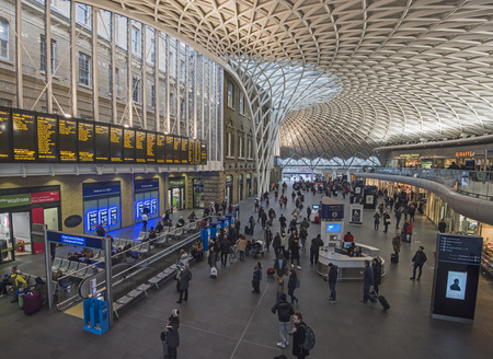 LONDON, ENGLAND - JANUARY 26th 2017:  London commuters travel through Kings Cross train station on January 26th 2017. London commuters recently said they were unhappy with train travel following industrial action by Southern Rail. Editorial